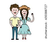 cute brazilian couple with hat... | Shutterstock .eps vector #650388727