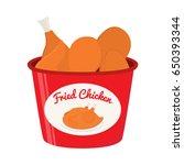 bucket of fried chicken  tasty...   Shutterstock .eps vector #650393344