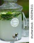glass jars of fresh lemonade on ... | Shutterstock . vector #650396311