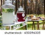glass jars with fresh lemonade... | Shutterstock . vector #650396335