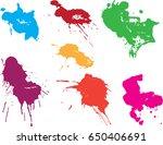 vector paint splatters.colorful ...   Shutterstock .eps vector #650406691