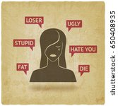 cyberbullying concept. upset...   Shutterstock .eps vector #650408935