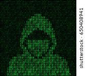 hacker on binary code... | Shutterstock .eps vector #650408941