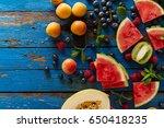 tasty fresh appetizing assorted ... | Shutterstock . vector #650418235