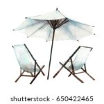 sun loungers and umbrella ... | Shutterstock . vector #650422465