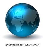 glossy blue earth globe | Shutterstock . vector #65042914
