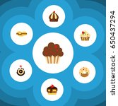 flat cake set of cupcake ... | Shutterstock .eps vector #650437294