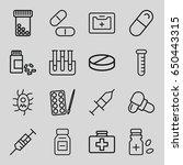 medication icons set. set of 16 ... | Shutterstock .eps vector #650443315