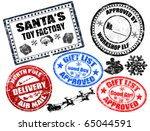 Collection of isolated grunge Christmas stamps on white background - stock vector
