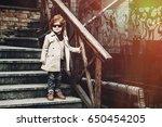 outside portrait of trendy... | Shutterstock . vector #650454205