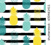 colorful pineapples on black... | Shutterstock .eps vector #650461411
