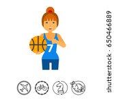 female basketball player vector ... | Shutterstock .eps vector #650466889