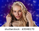 young norwegian woman at night... | Shutterstock . vector #65048170