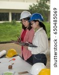two engineers checking the plan ...   Shutterstock . vector #650485069