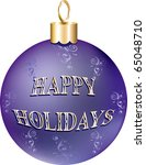 Raster version Illustration of purple gold happy holidays ornament isolated. - stock photo