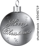 Raster version Illustration of silver Merry Christmas ornament isolated. - stock photo