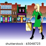 Raster version Illustration of a blond woman Christmas shopping with bags dressed fashionably. - stock photo
