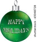 Raster version Illustration of green and silver happy holidays ornament isolated. - stock photo