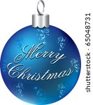 Raster version Illustration of blue silver happy holidays ornament isolated. - stock photo