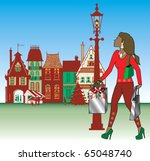 Raster version Illustration of brunette woman Christmas shopping with bags dressed fashionably. - stock photo