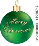 Raster version Illustration of green and gold happy holidays ornament isolated. - stock photo