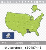 usa louisiana state map and...   Shutterstock .eps vector #650487445