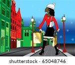 Raster version Illustration of a black woman Christmas shopping with bags dressed fashionably. - stock photo