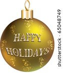 Raster version Illustration of gold happy holidays ornament isolated. - stock photo