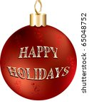 Raster version Illustration of red and gold happy holidays ornament isolated. - stock photo