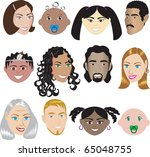 Raster version People Faces 3. Illustration set of 12 different faces of all sexes, races and ages. Also available in other sets. - stock photo