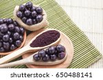 fruits and acai powder... | Shutterstock . vector #650488141