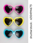 heart shaped sunglasses on a...   Shutterstock . vector #650494675