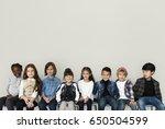 happy diverse group of kids... | Shutterstock . vector #650504599