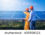 engineer checking solar panel... | Shutterstock . vector #650508121