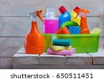 cleaning product on rustic... | Shutterstock . vector #650511451