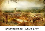 ancient town Lucca- Tuscany - retro styled picture - stock photo