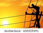 shadow electricians repairing... | Shutterstock . vector #650529391