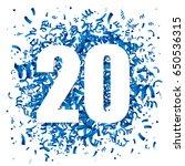 blue confetti and big white... | Shutterstock .eps vector #650536315