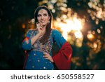 fashion woman wearing indian... | Shutterstock . vector #650558527