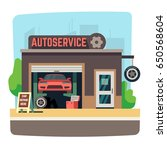 car repair mechanic shop with... | Shutterstock .eps vector #650568604