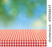 picnic table with red checkered ...   Shutterstock .eps vector #650568619
