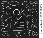 hand drawn arrow  circles.chalk ... | Shutterstock .eps vector #650578999