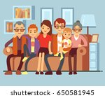 happy family sitting on sofa.... | Shutterstock .eps vector #650581945