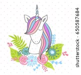 magic cute unicorn with flowers.... | Shutterstock .eps vector #650587684
