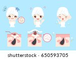 cartoon beauty woman with acne... | Shutterstock .eps vector #650593705