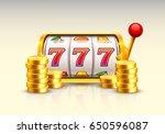 golden slot machine wins the... | Shutterstock .eps vector #650596087