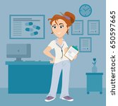 female doctor with clipboard in ... | Shutterstock .eps vector #650597665