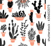 succulents and cacti plants.... | Shutterstock .eps vector #650602075