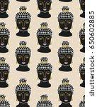 vector buddha seamless pattern... | Shutterstock .eps vector #650602885