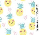 pineapple pattern  vector ... | Shutterstock .eps vector #650602981